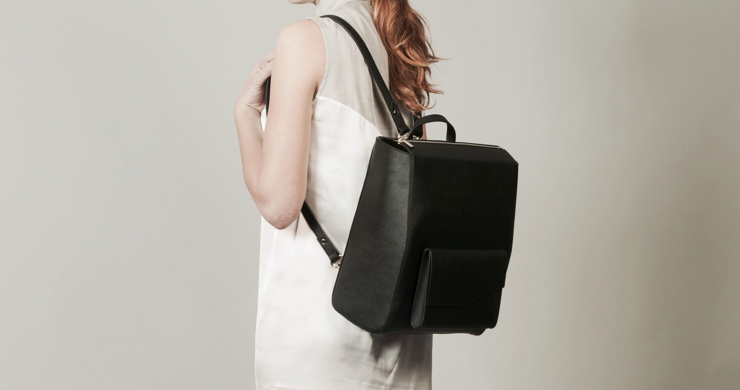 Isabel Wong x Urban Travel Black Leather Backpack