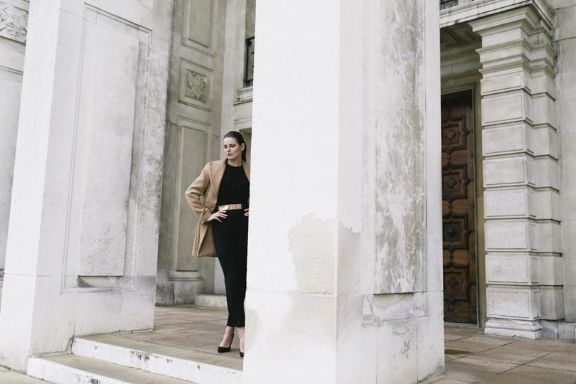 Isabel Wong Eternity Black Jersey Asymmetric Jumpsuit