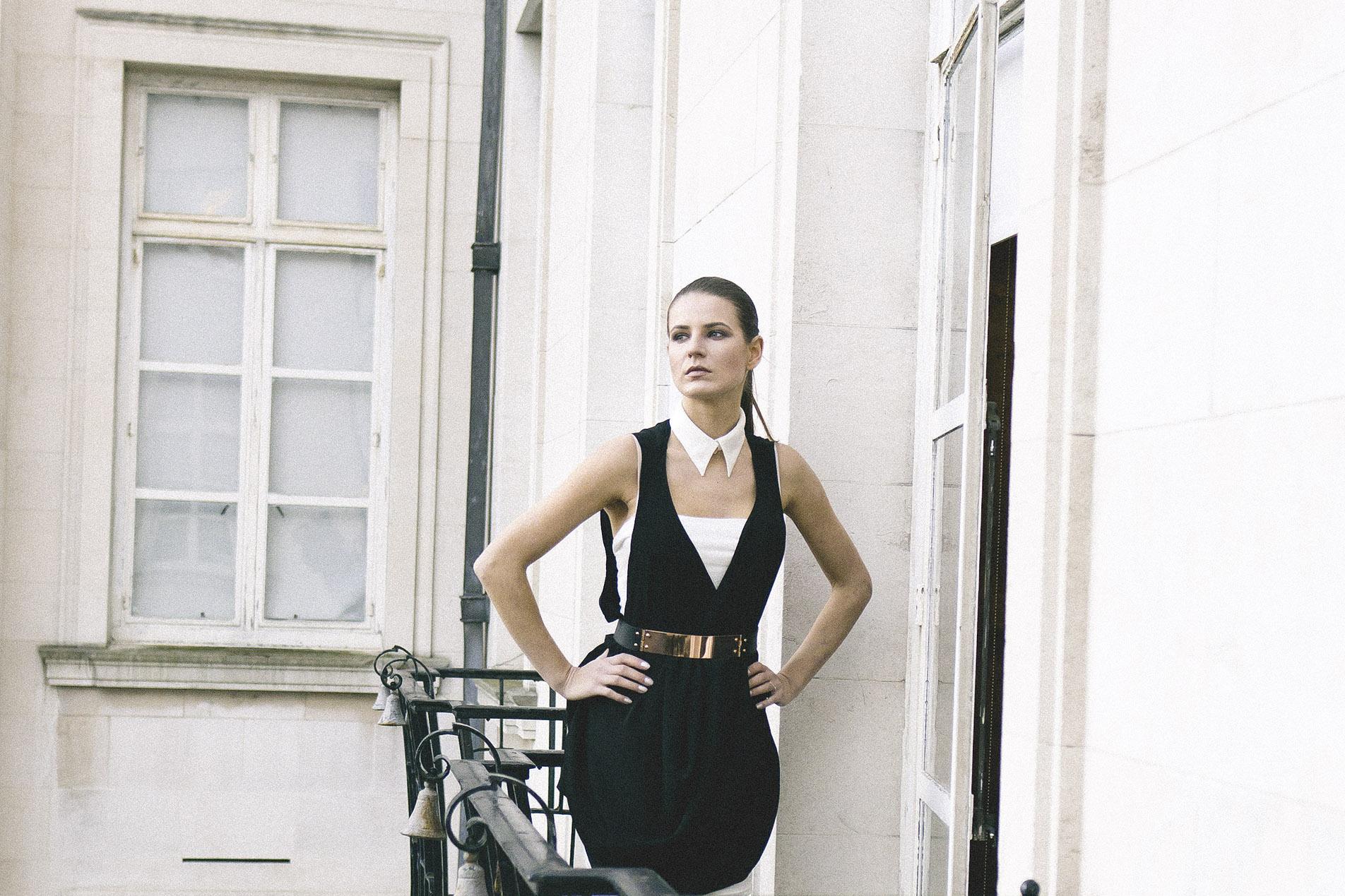 Isabel Wong Black Draped Levity Dress