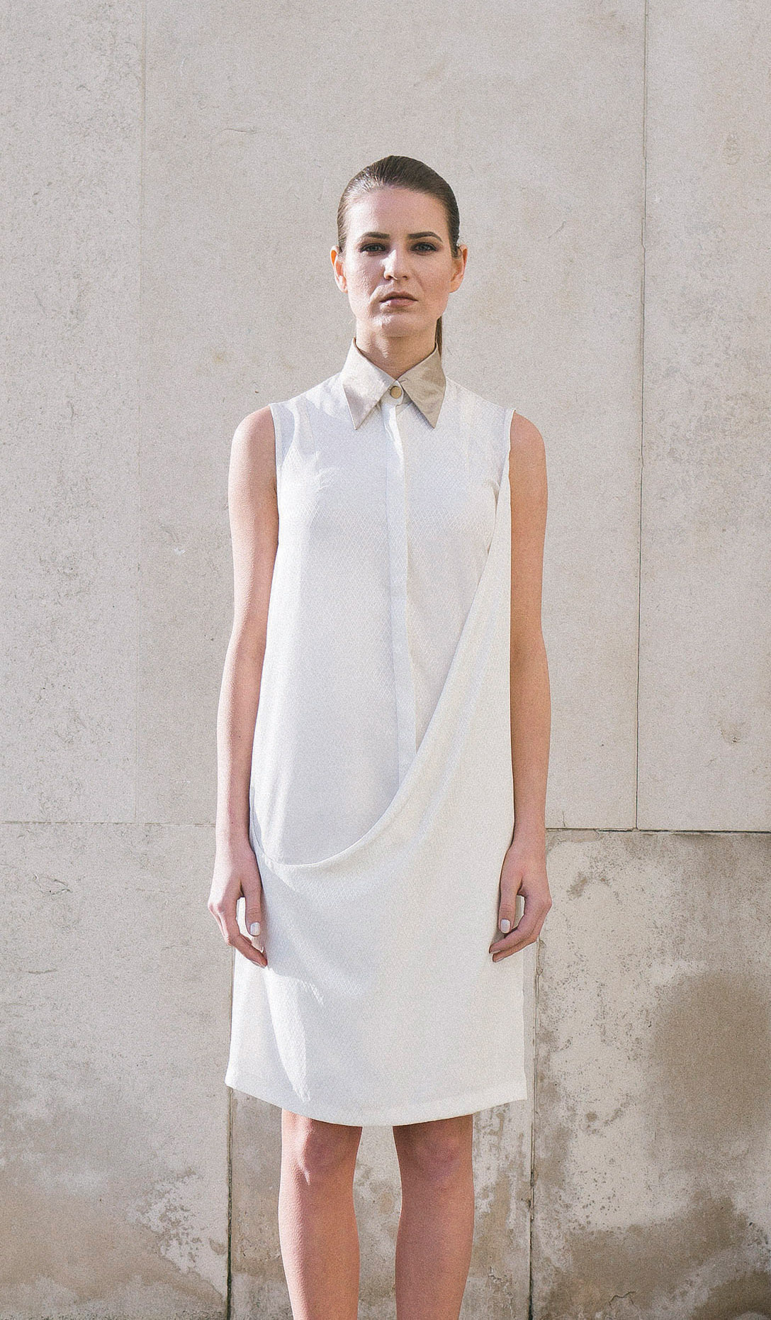 Isabel Wong White Asymmetric Draped Front Shirt Dress With Gold Rubber Coated Cotton Collar