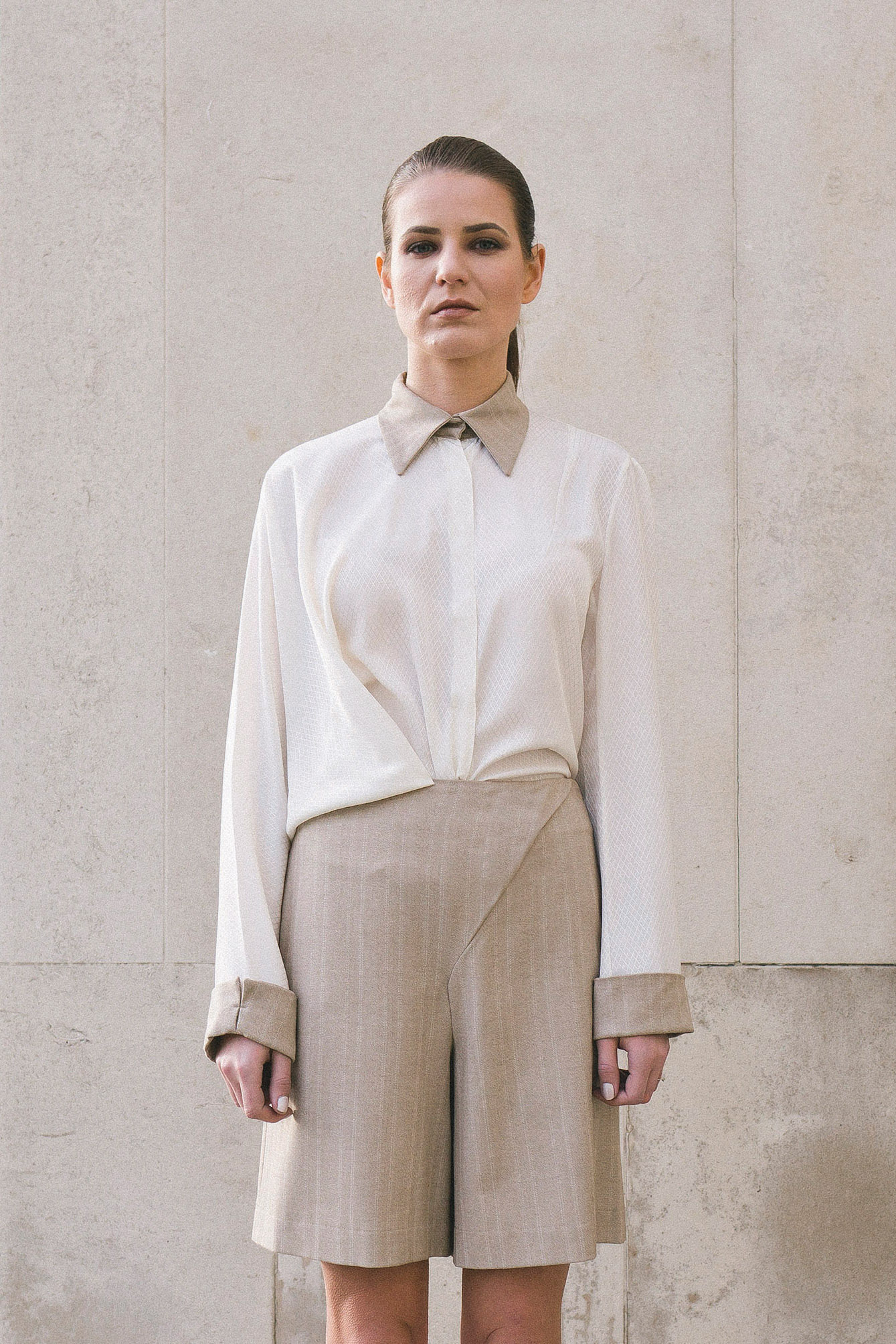 Isabel Wong Segue White Blouse and Warm Grey Pinstripe Tailored Shorts - Asymmetric Draped Front