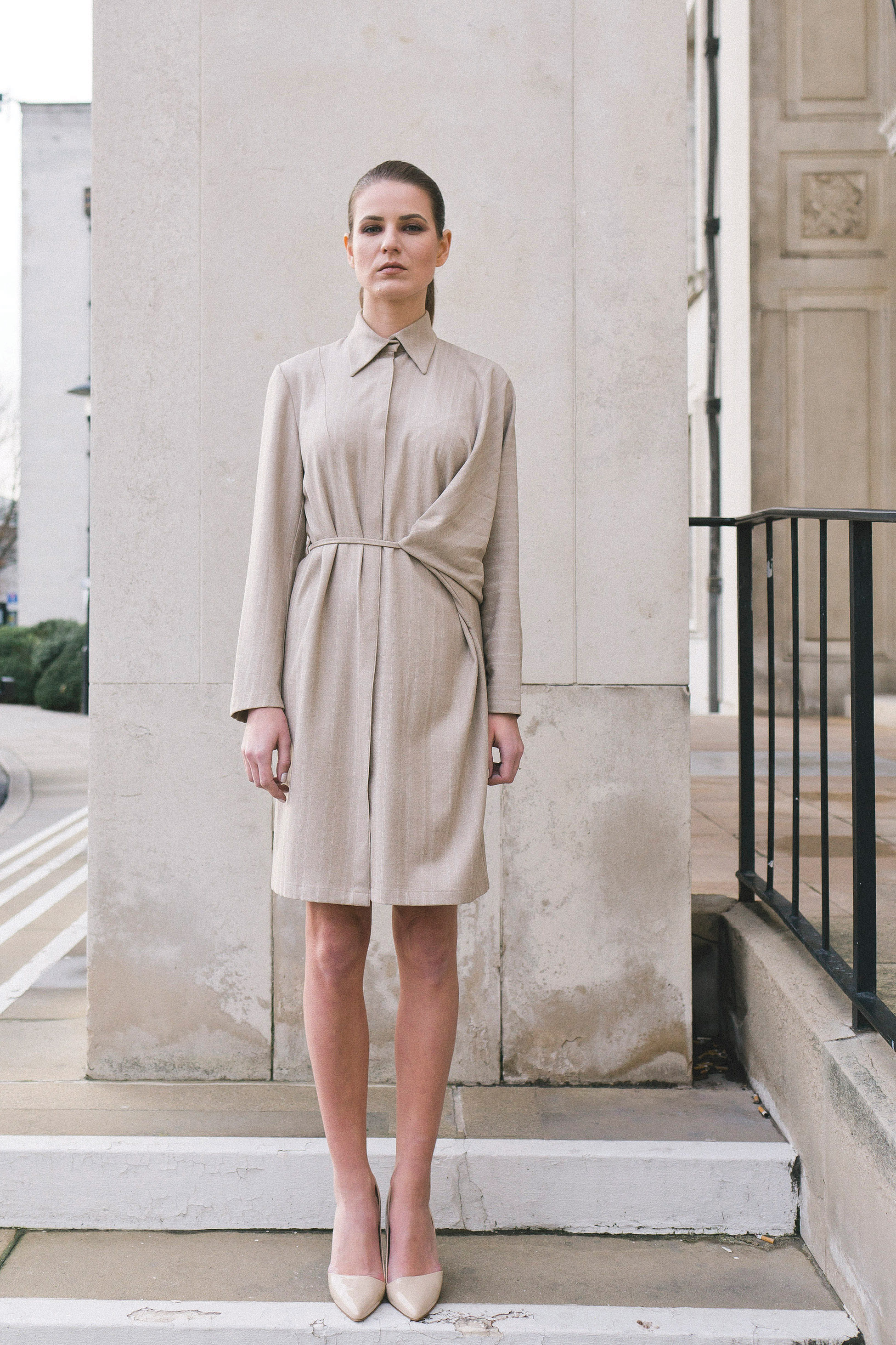 Isabel Wong Relievo Shirt Dress in Grey Pinstripe with Asymmetric Front Drape and Concealed Button Stand