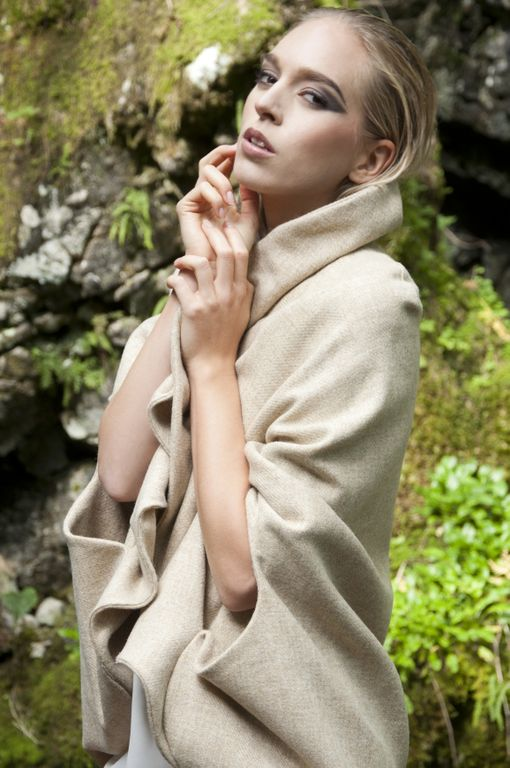 Isabel Wong Spring Summer Campaign Bilancia Beige Wool Cape