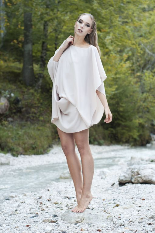 Isabel Wong Spring Summer Campaign Infinity Dress in Musk Silk Georgette with Waterfall Drapes