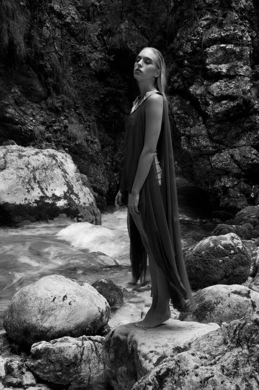 Isabel Wong Spring Summer Campaign Omega Brown Silk Chiffon Waterfall Drapes