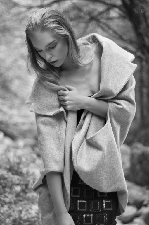 Isabel Wong Spring Summer Campaign Bilancia Beige Wool Wide Lapel and Collared Cape