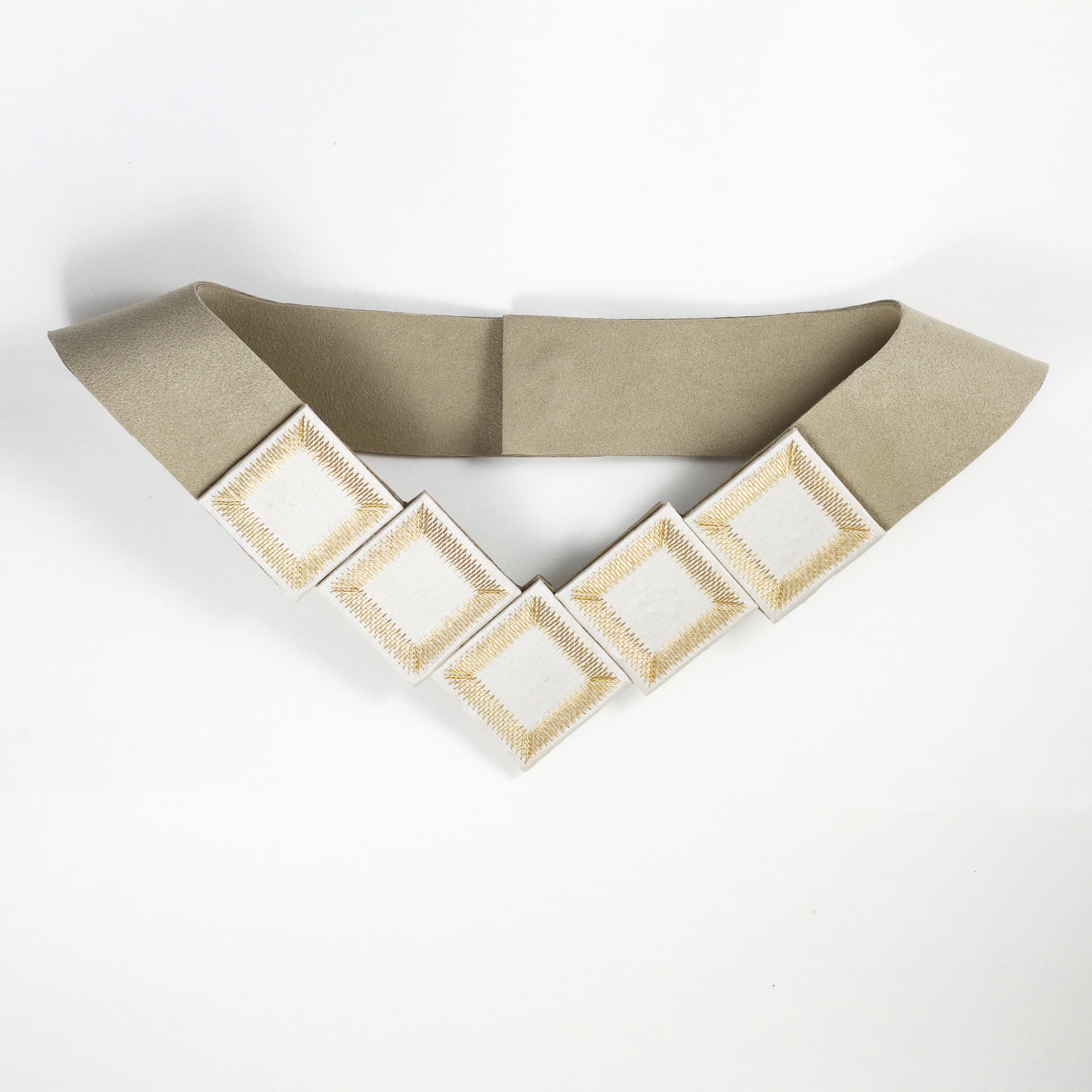 Kosmos-Collection-Isabel-Wong-Taupe-Silk-Suede-Gold-Metal-Bib-Necklace.JPG