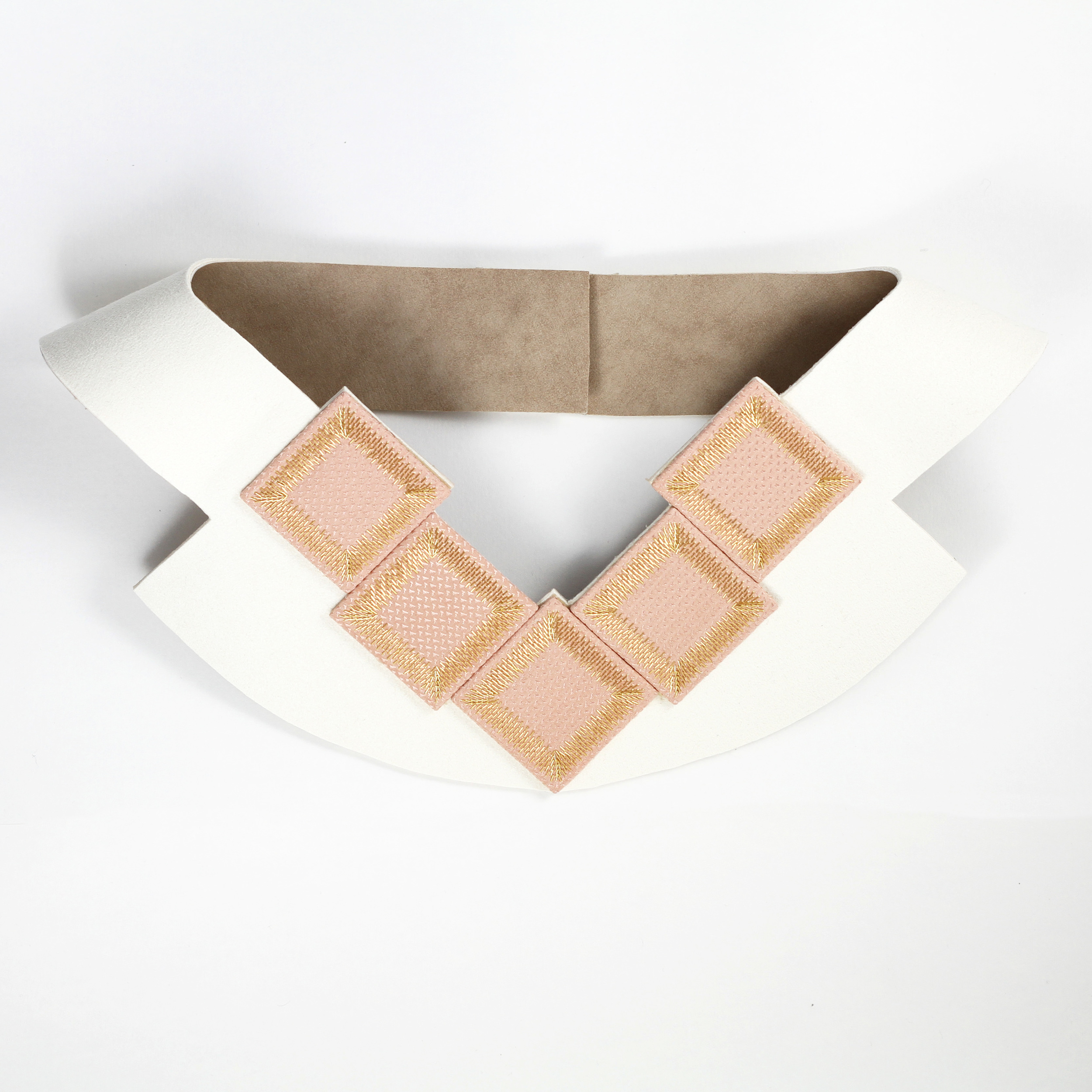 Kosmos-Collection-Isabel-Wong-Coral-Pink-Silk-White-Suede-Gold-Metal-Bib-Necklace-Consequence.JPG