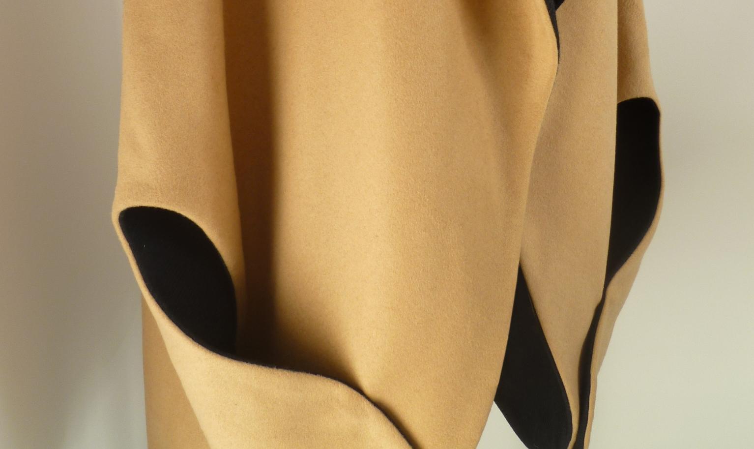 Bilancia Cape Camel Black Melton Wool.JPG
