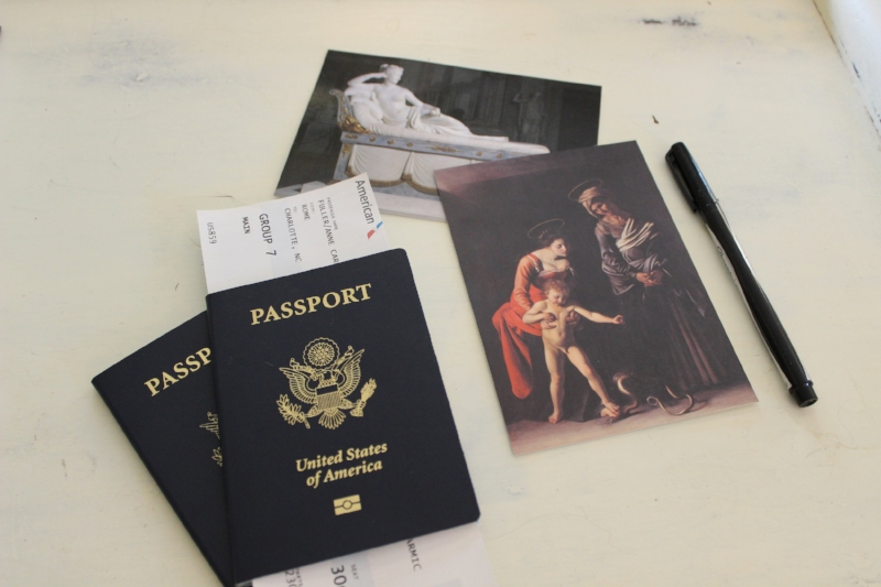 postcards and passport