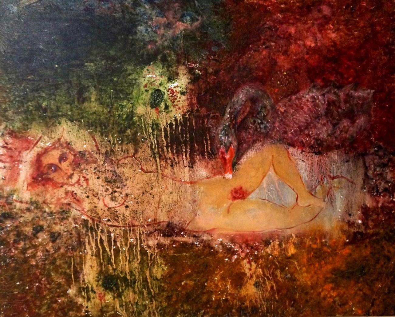 "Leda and a Swan, Acrylic on Canvas, 30""x45"""