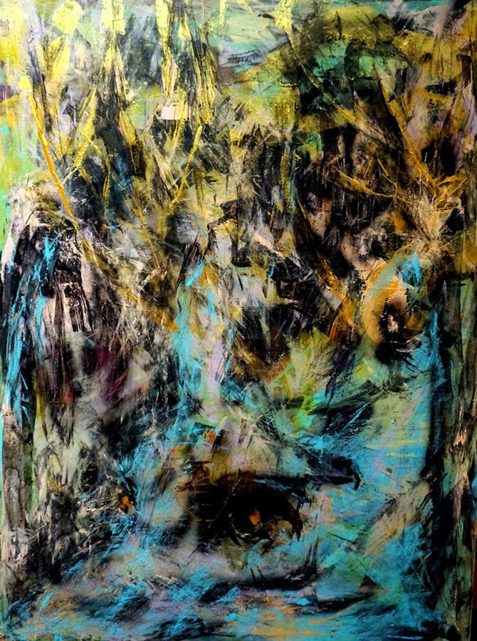 """The Dear Head in Gold, Acrylic on Canvas, 48""""x36"""""""