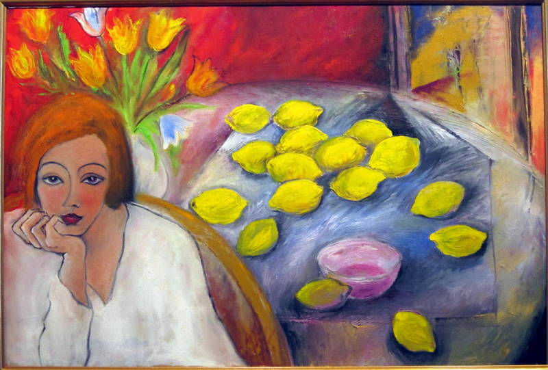 "A Girl with Lemons, Oil on Canvas, 24""x36"""