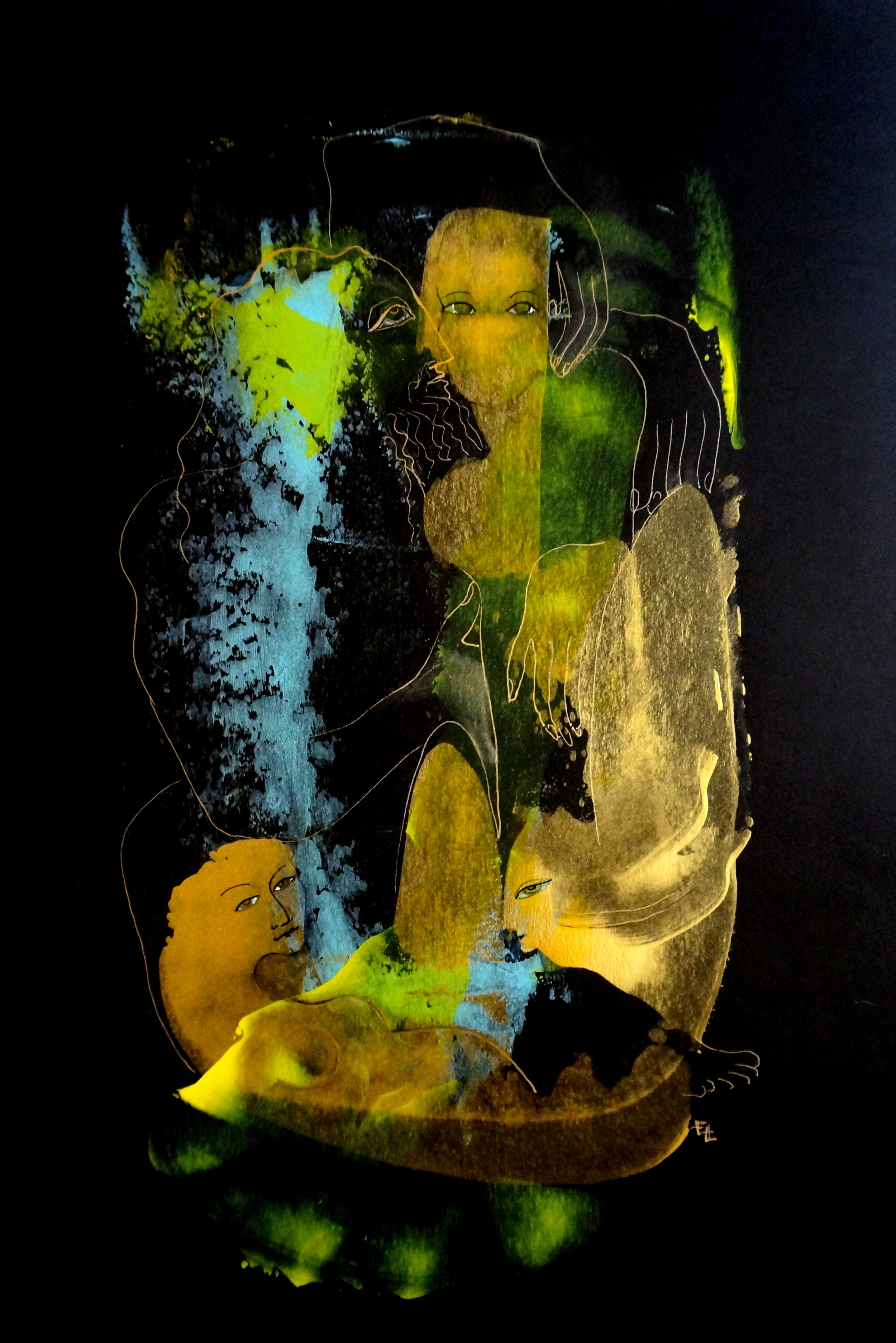 "Metamorphosis 1, Acrylic and Ink on Paper, 18""x12"""
