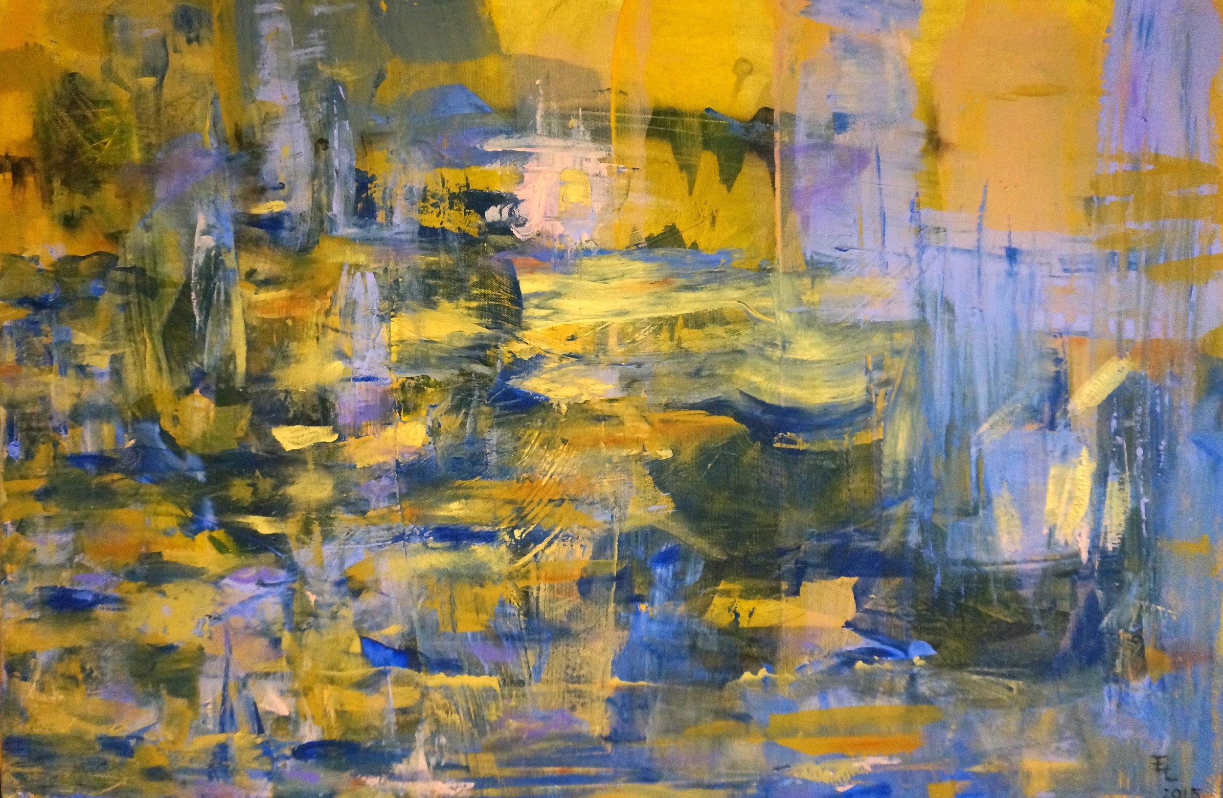 "Sunset, Acrylic on Canvas, 24""x36"""