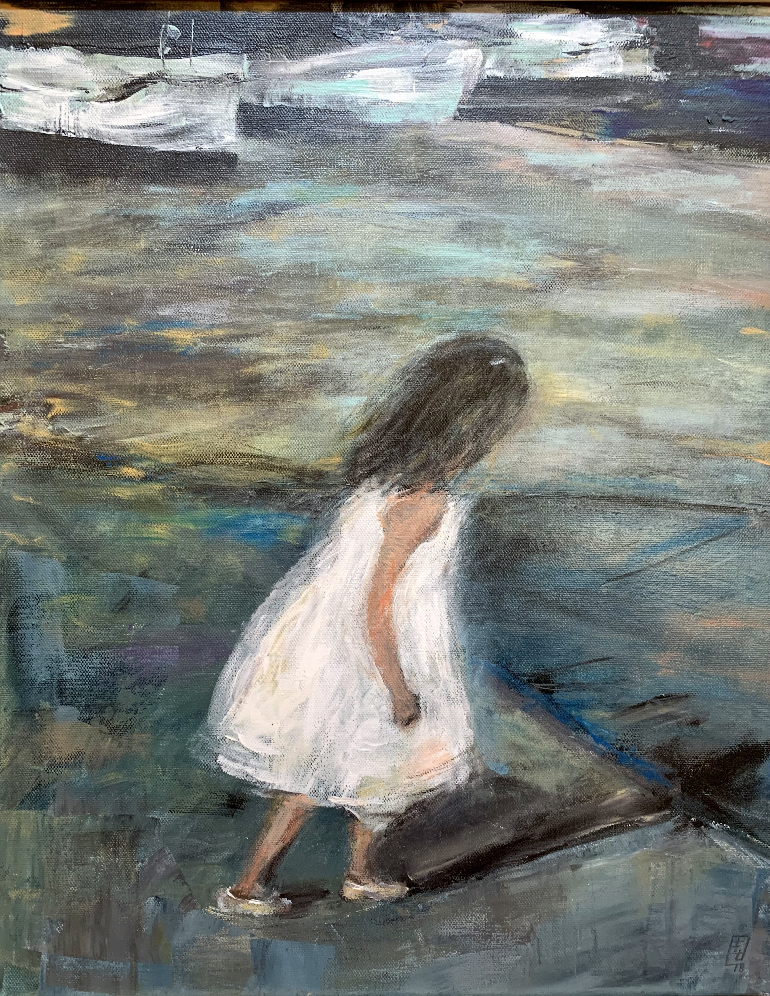"""A Girl in White Dress, Acrylic on Canvas, 20""""x16"""""""