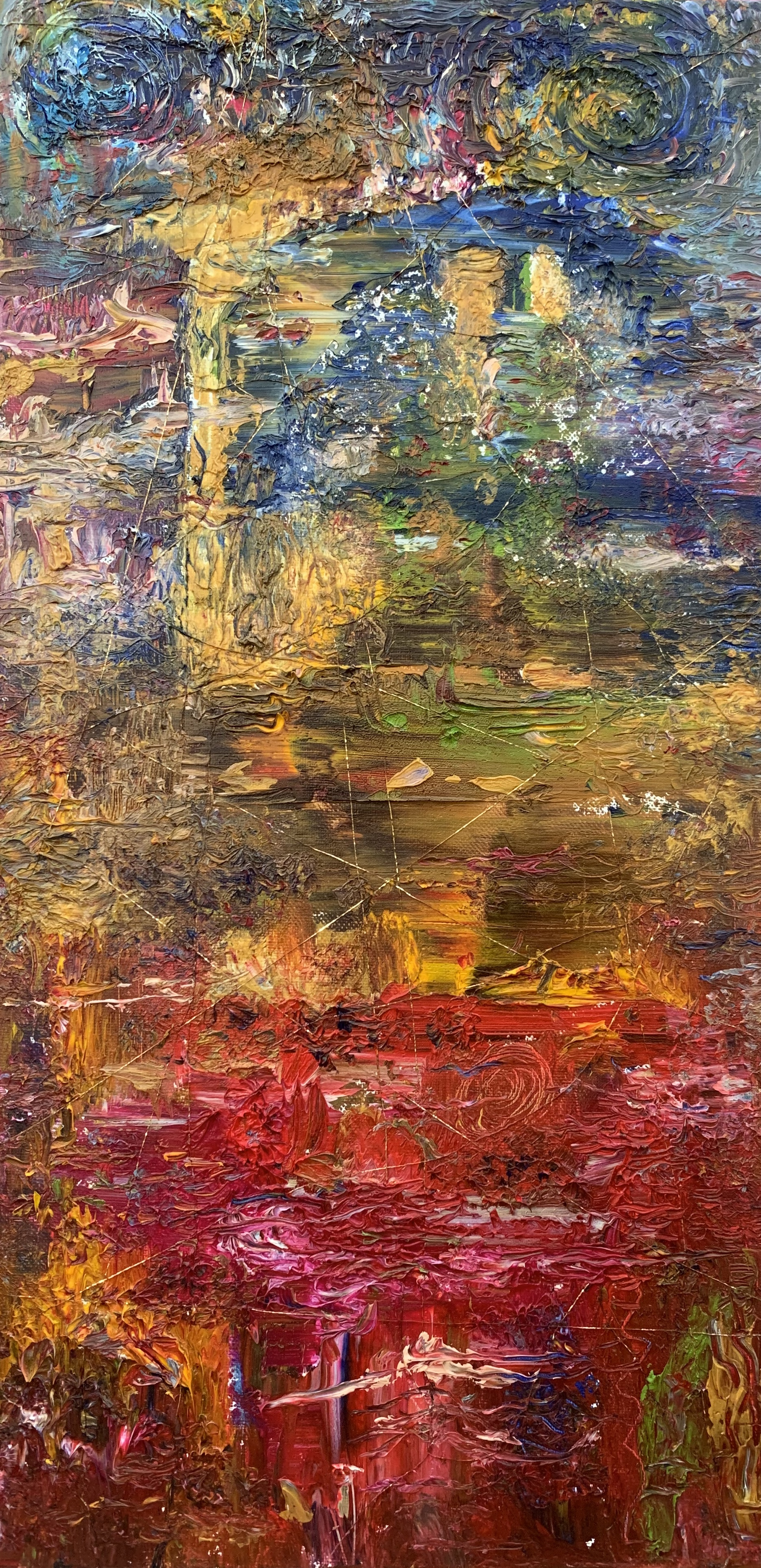 """Abstract Landscape 2, Oil on Canvas, 24""""x12"""""""