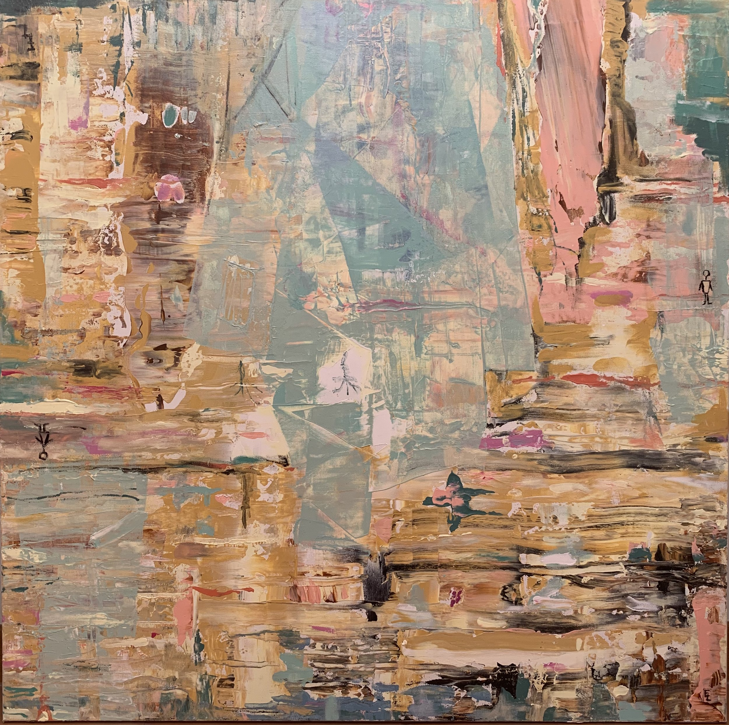 "New York Upside Down, Acrylic on Canvas, 36""x36"""