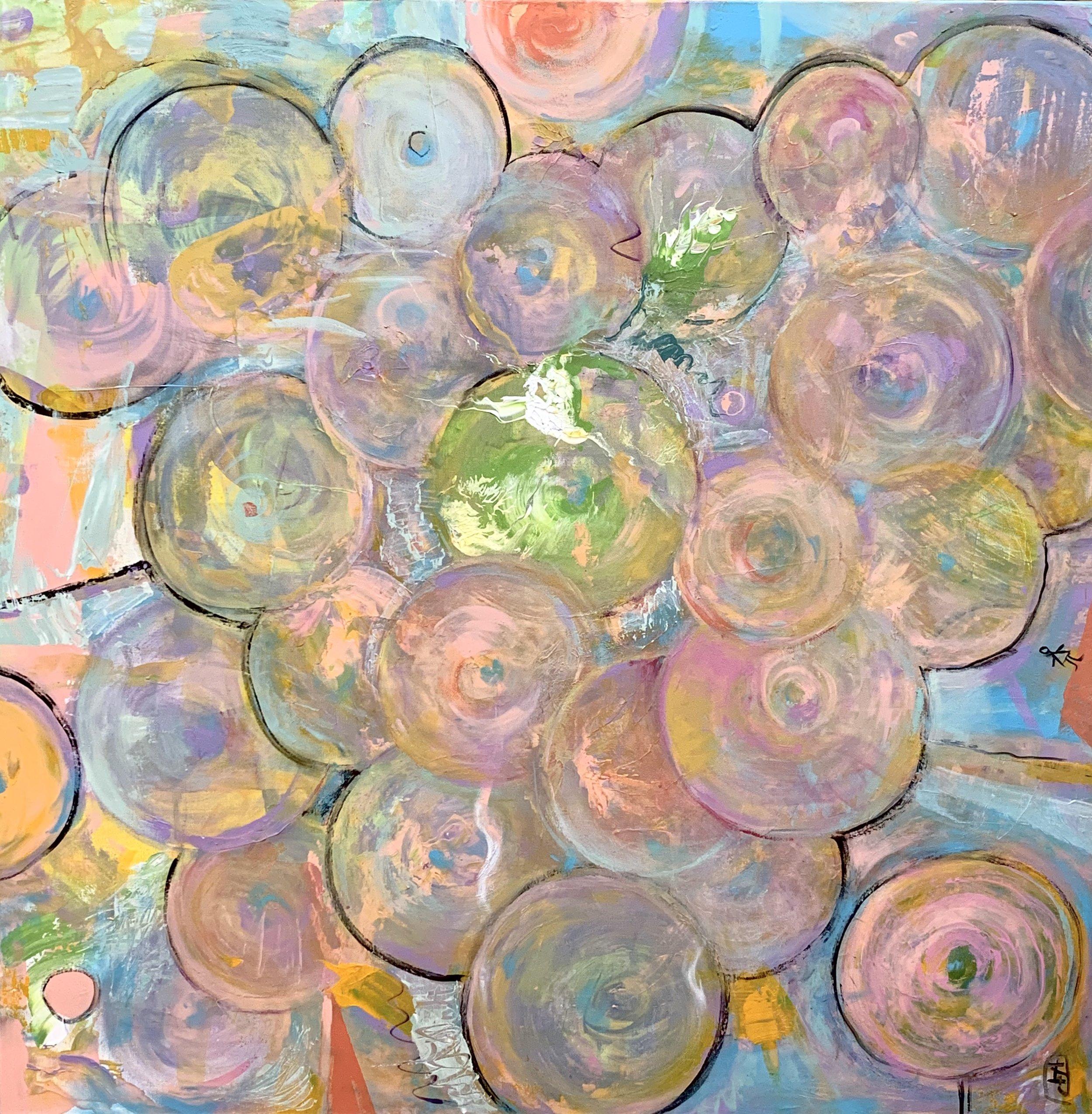 """'Surveillance Cameras, Balloons, Boobs, Lollipops', Acrylic on Canvas, 36""""x36"""""""