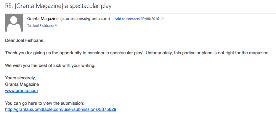 Standard email rejection letter that is impossible to mutilate with any sense of satisfaction
