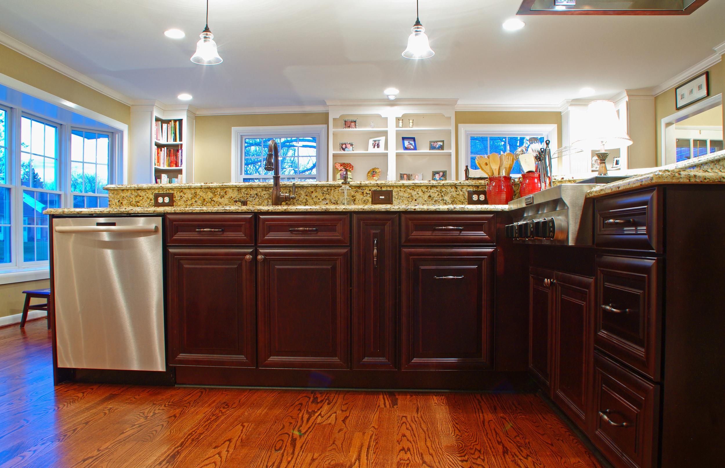 The kitchen island in Maple Espresso.
