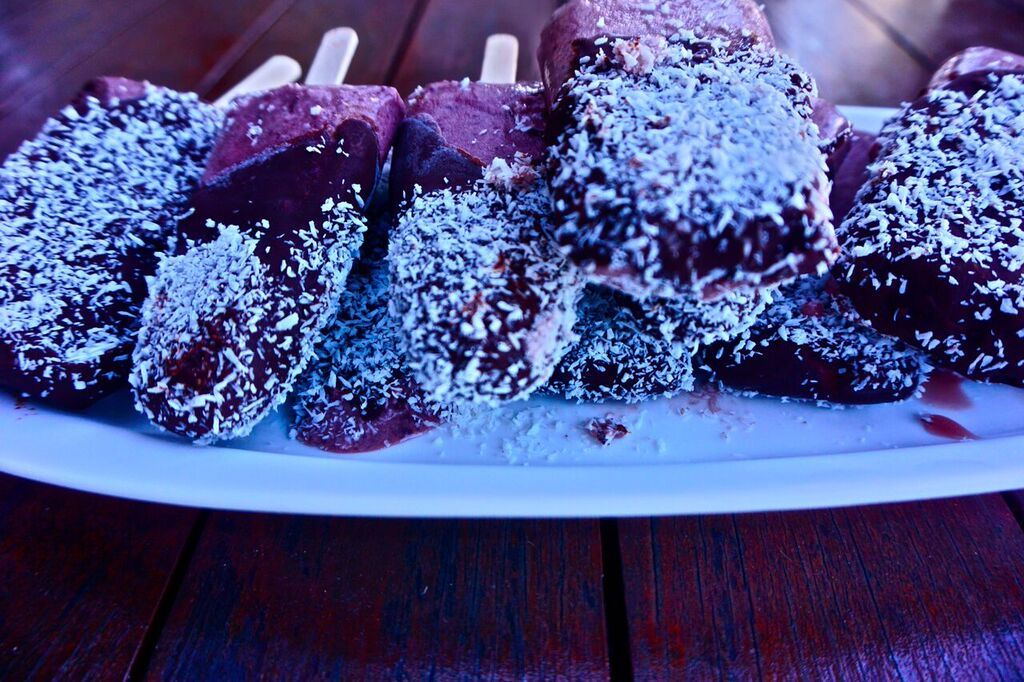 Chocolate vegan cherry ripe popsicle