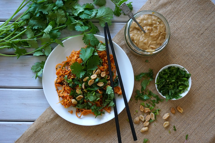 Sweet Potato Noodles with Lemongrass Satay Sauce | Savoury Meals | Sproutly Stories