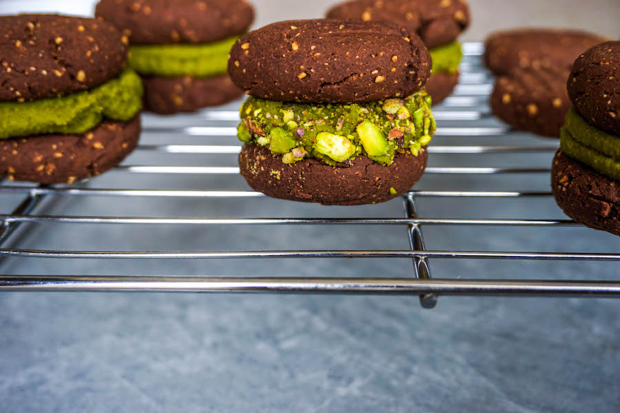 Chocolate PB Cookie Sandwiches with Matcha Pistachio Cream | Sweet Treats | Sproutly Stories