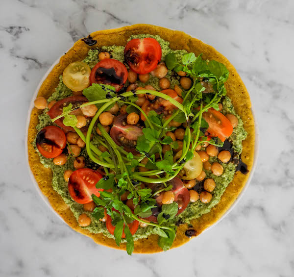 Socca Flatbread with Creamy Pesto and Roasted Chickpeas   Savoury Recipes   Sproutly Stories