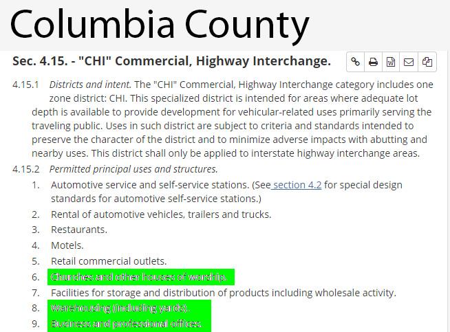 Columbia County CHI Uses