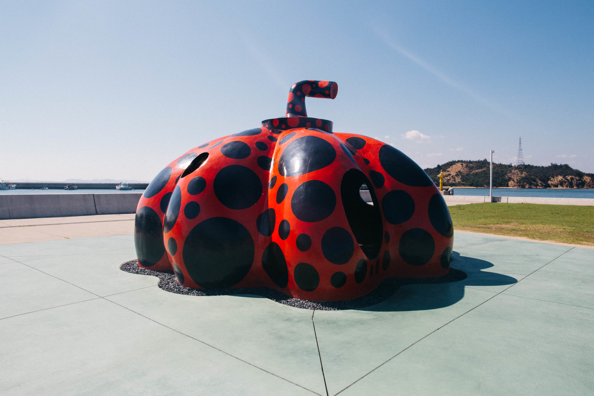 Yayoi Kusama's Red pumpkin will greet you on your arrival at Miyanoura Port