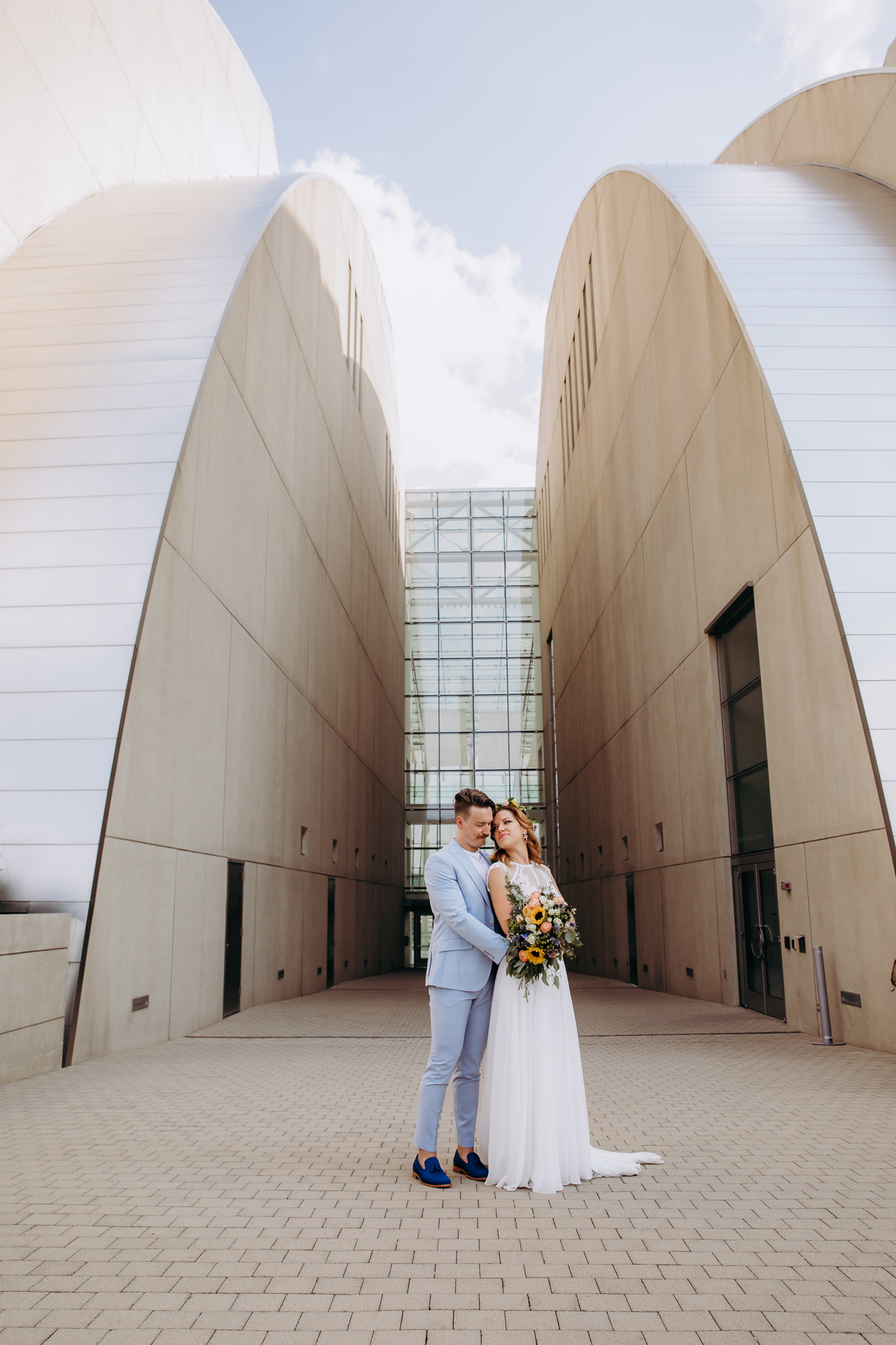 Bride and Groom at Kauffman Center by Merry Ohler
