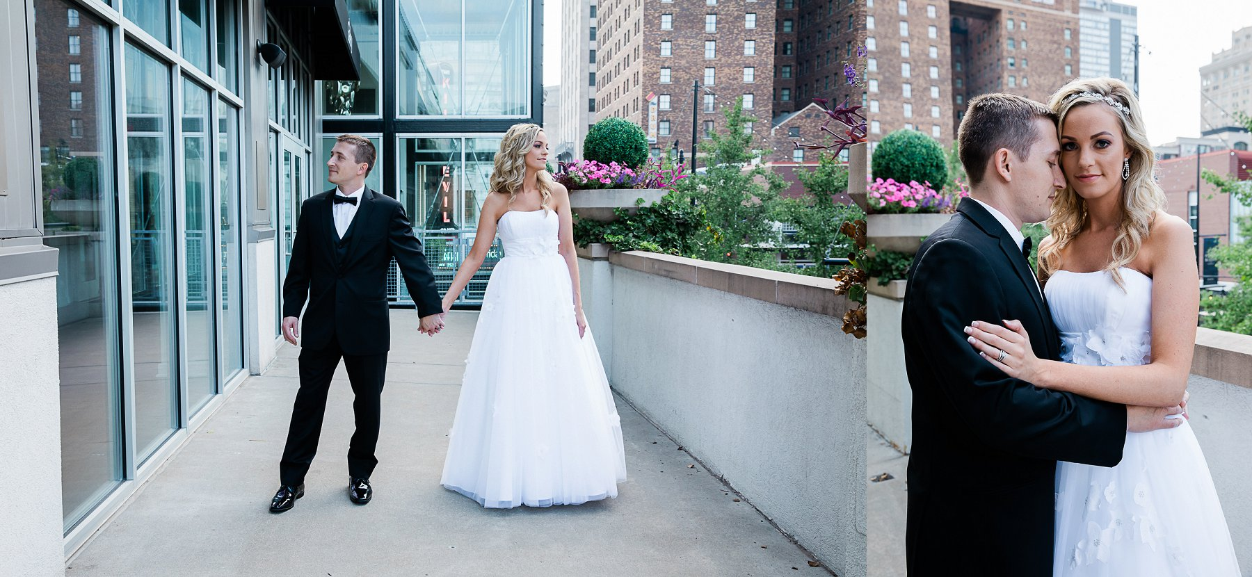 Bride and Groom portrait on balcony by Merry Ohler | Best Midwest Wedding Photographer