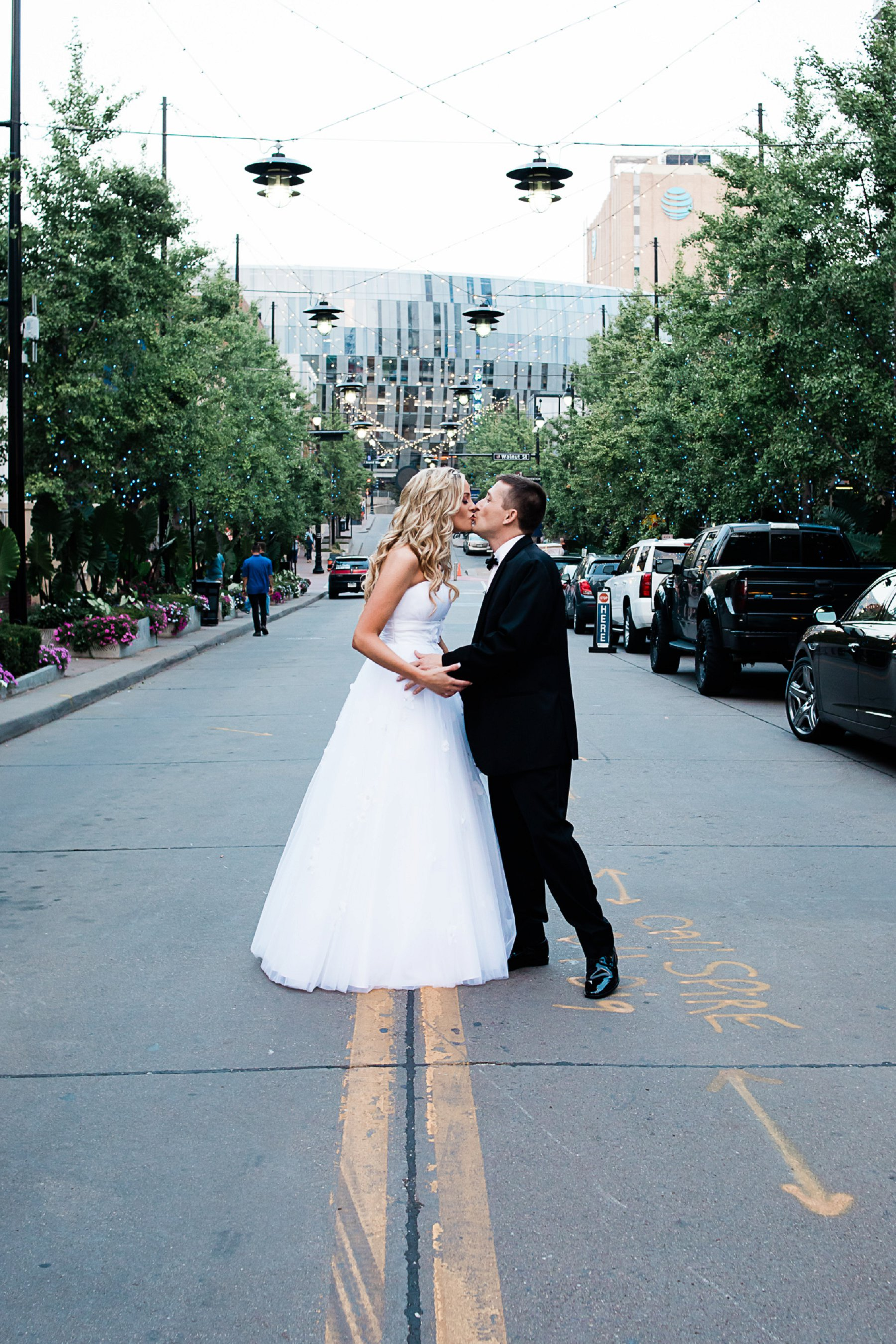 Wedding Portrait in Kansas City Power and Light District by Merry Ohler
