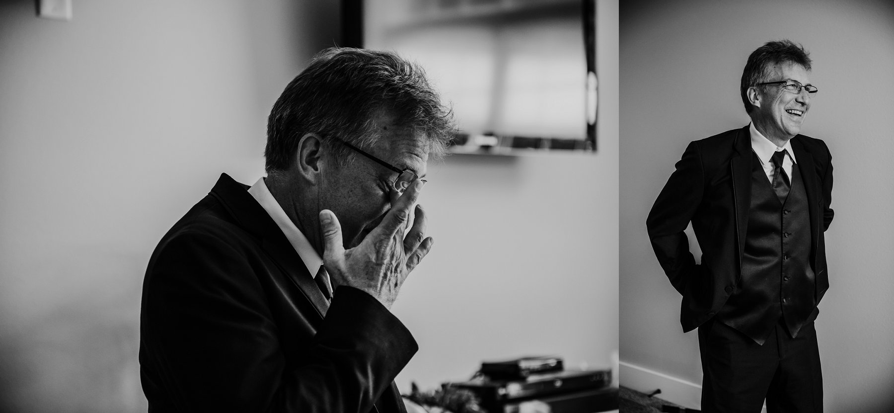 Black and white photo of Father of the Bride as he tears up and smiles as he glimpses the bride for the first time. © Merry Ohler Creative, 2019. Photo by Merry Ohler, who is the best wedding photographer in Kansas City.