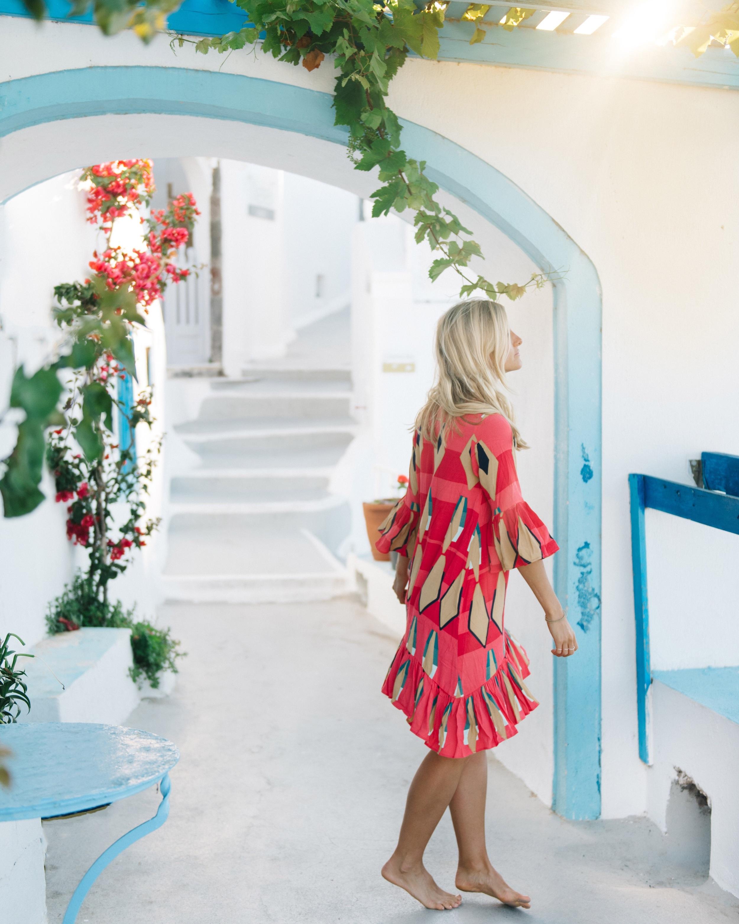 Streets of Santorini, Fira. Dress: Mister Zimi