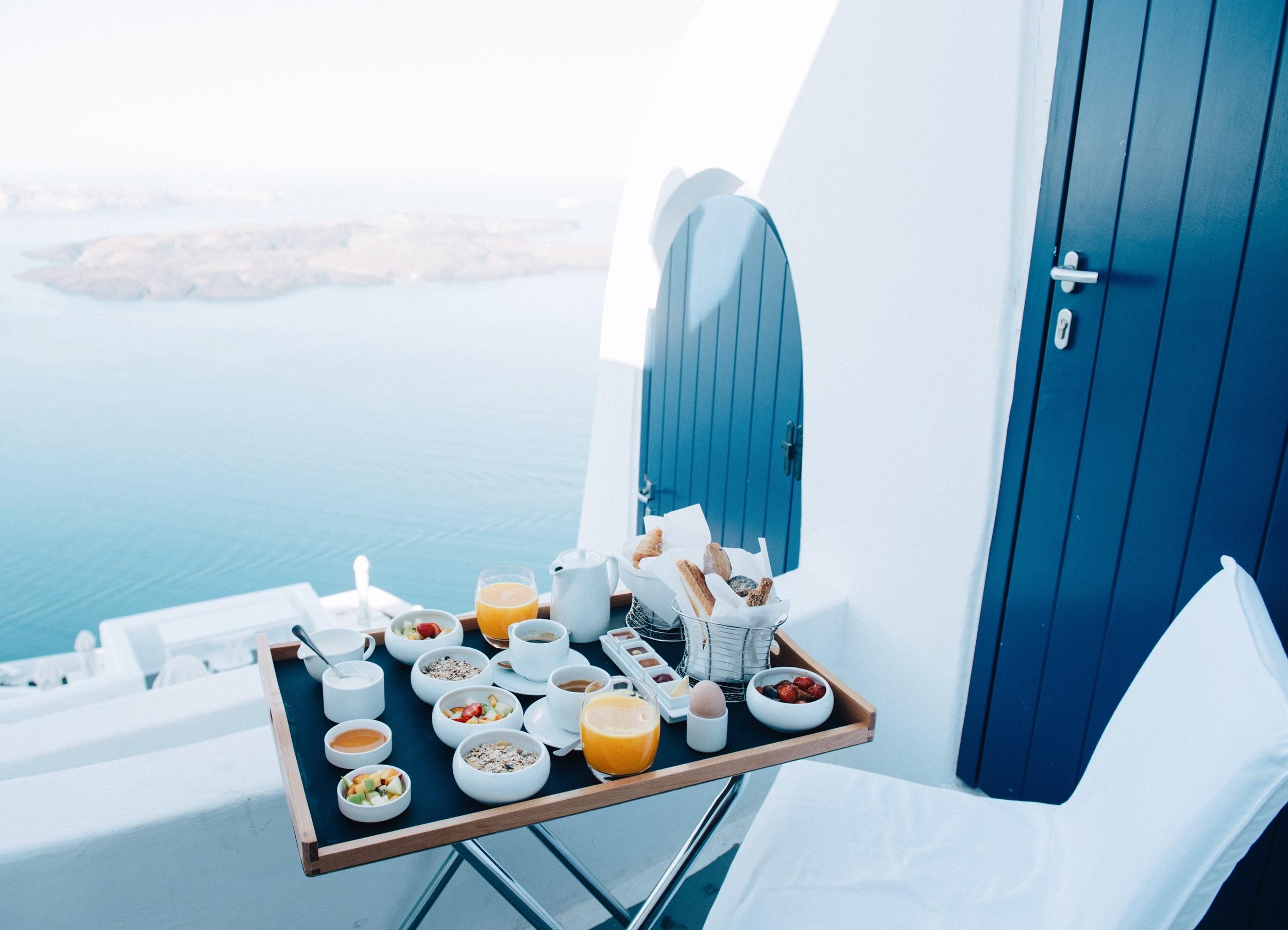 Breakfast on the balcony at Chromata Hotel