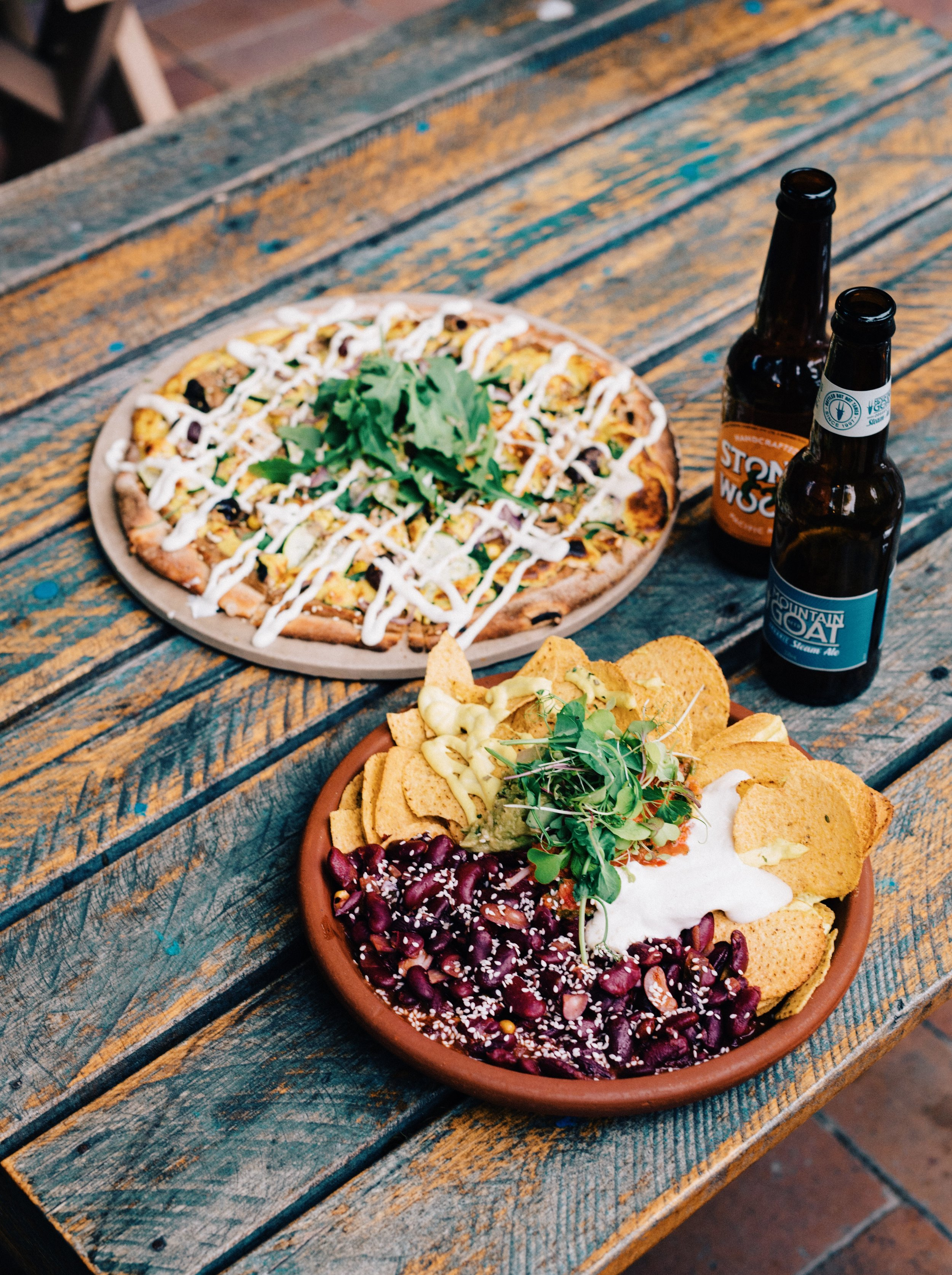 Our fav combo, nachos and pizza
