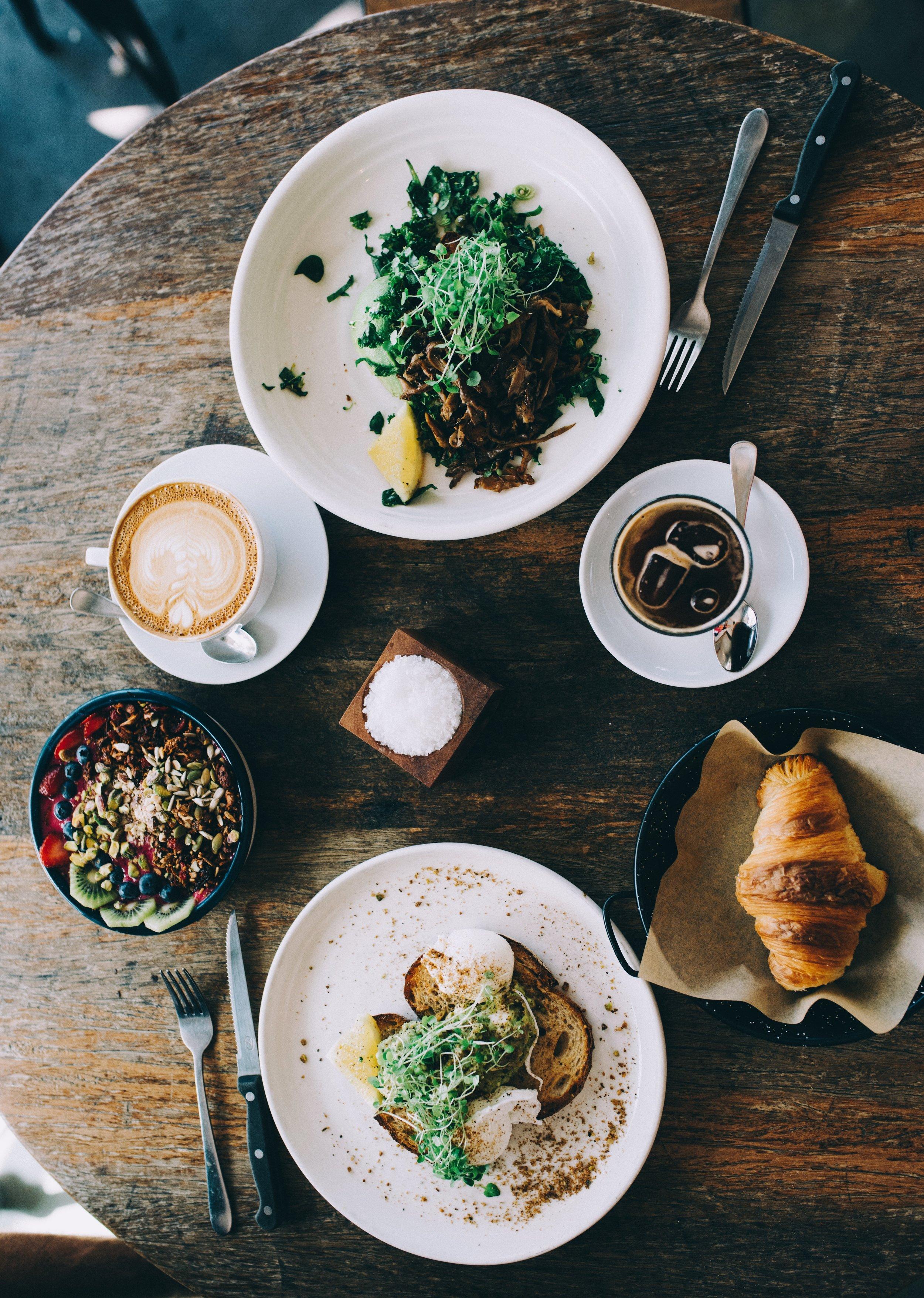 Sunday brunch spread at Black Board Coffee