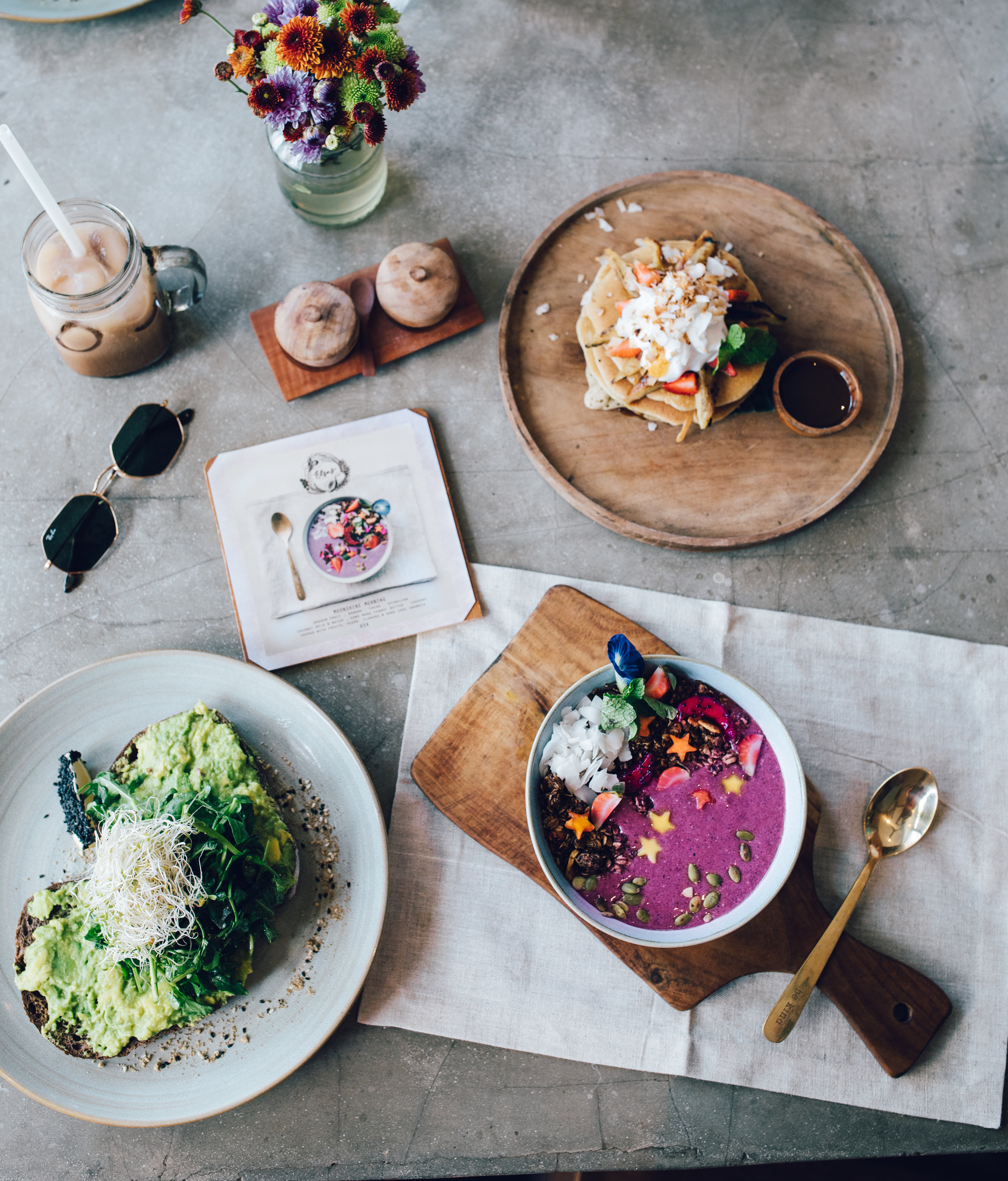 Pancakes, avo good-day and moonshine morning bowl, breakfast favourites.
