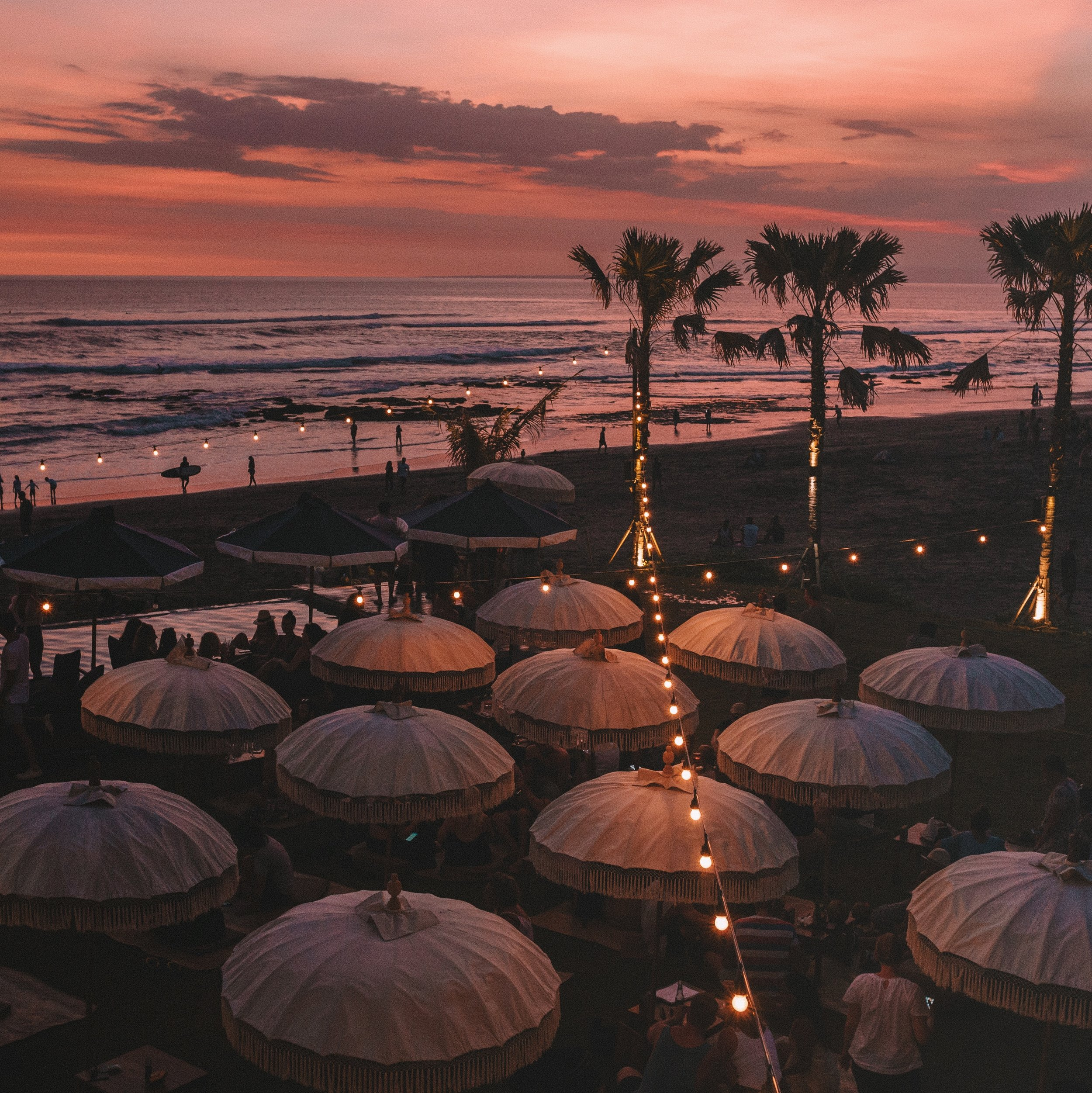 Golden hour overlooking the lawn in Canggu