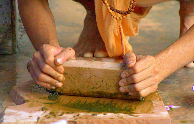 Preparation of bhaang for treatment in Ayurveda.
