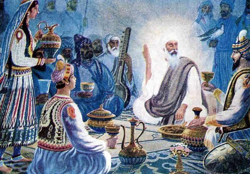 A representation of Mughal King Babur offering Bhaang to Shri Gurunanak Dev ji.