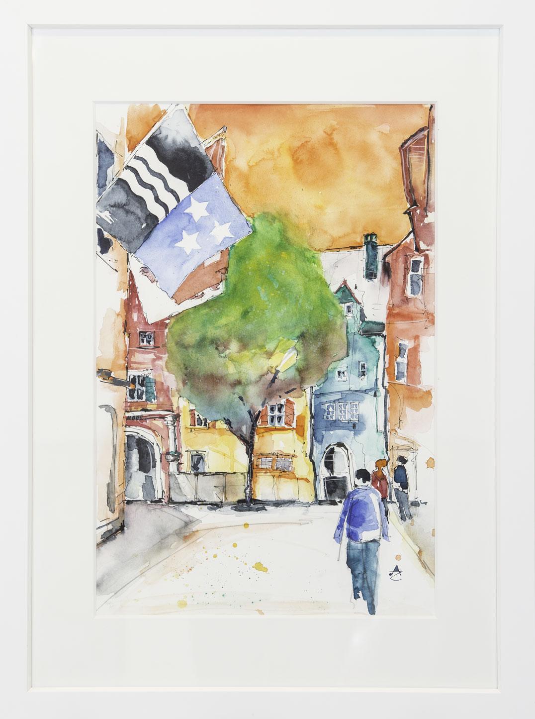 """""""Rathausplatz"""" Alfred Zgraggen 50x70cm 980.-"""
