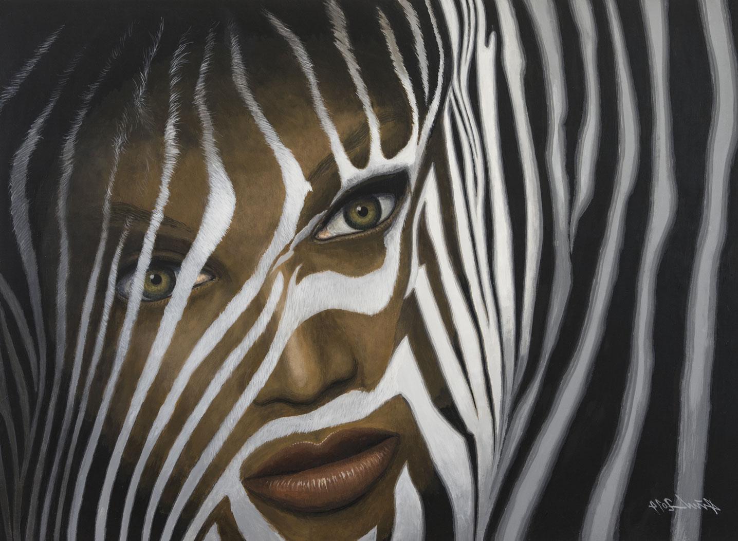 """Zebra Frau"" Otto Dürst 105x77cm 2,700.-"