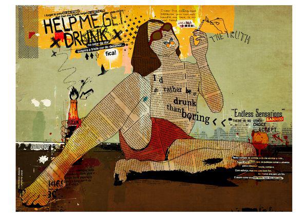 """Bebedo"" 120x90cm Digital Kunst 2010 2,500.-"