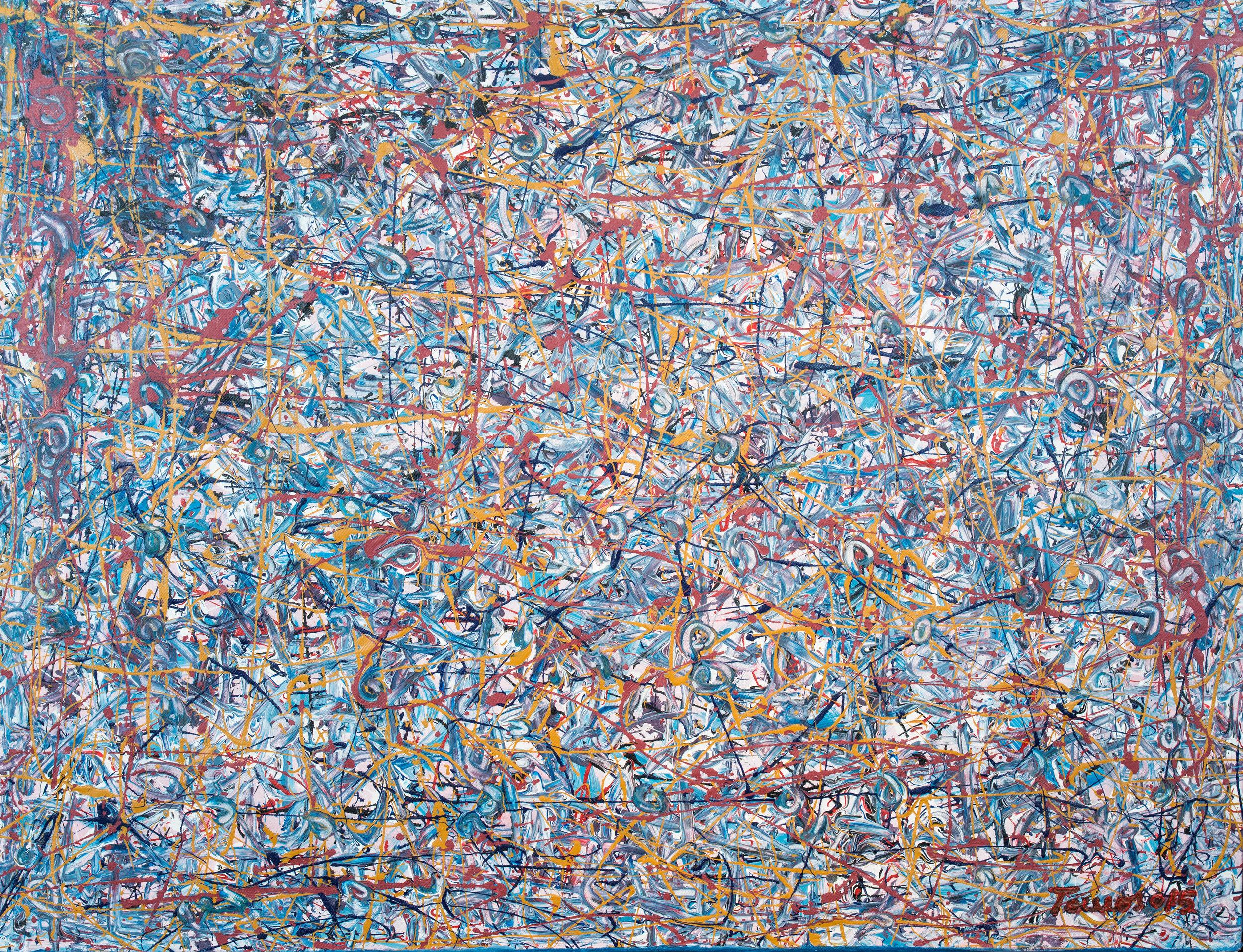 """""""Habitat Azul"""" 128x98cm Acryl 2015 1,500.-"""