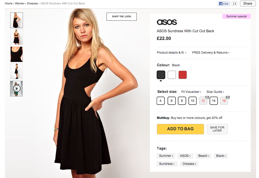 ASOS product details user testing 2013
