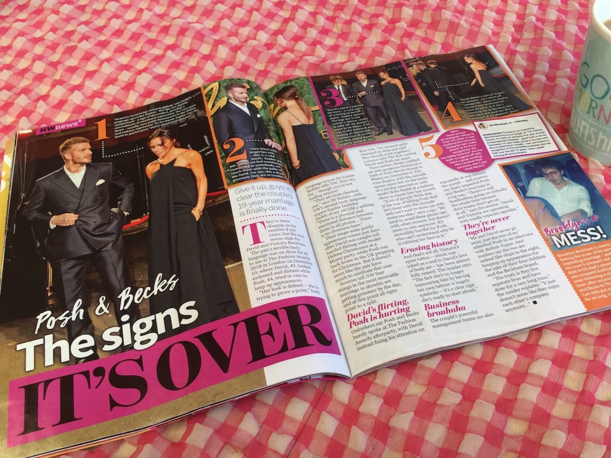 Body Language Specialist Sophie Zadeh Analyses Posh n Becks Body Language for NW Magazine