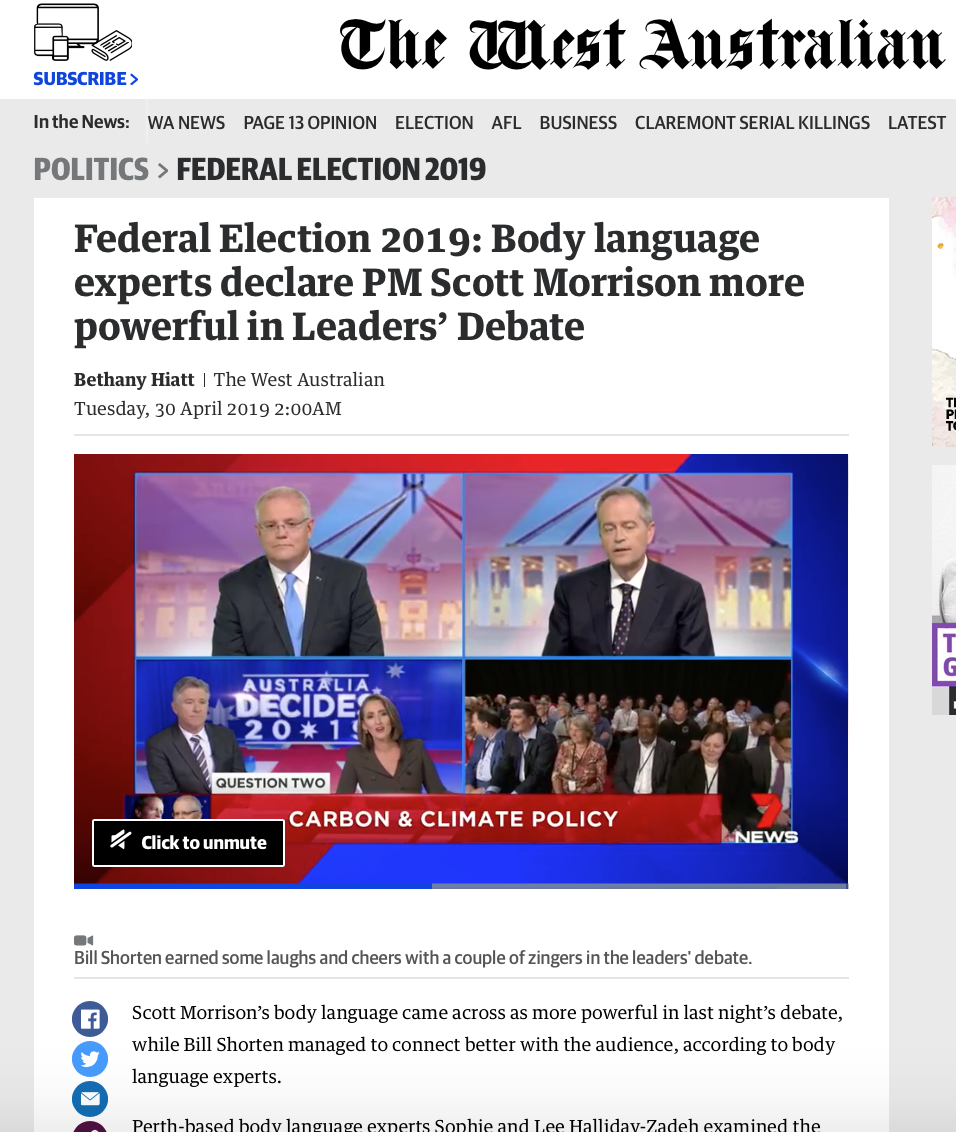 Federal Election 2019: Body language experts declare PM Scott Morrison more powerful in Leaders' Debate